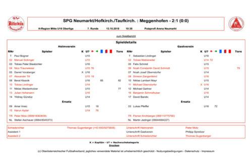 SPG Neumarkt/Hofkirch./Taufkirch. - Meg...Mitte U16-OL) - fussba